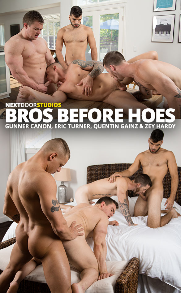 """Next Door Studios: Quentin Gainz, Gunner Canon, Zey Hardy and Eric Turner's raw foursome in """"Bros Before Hoes"""""""