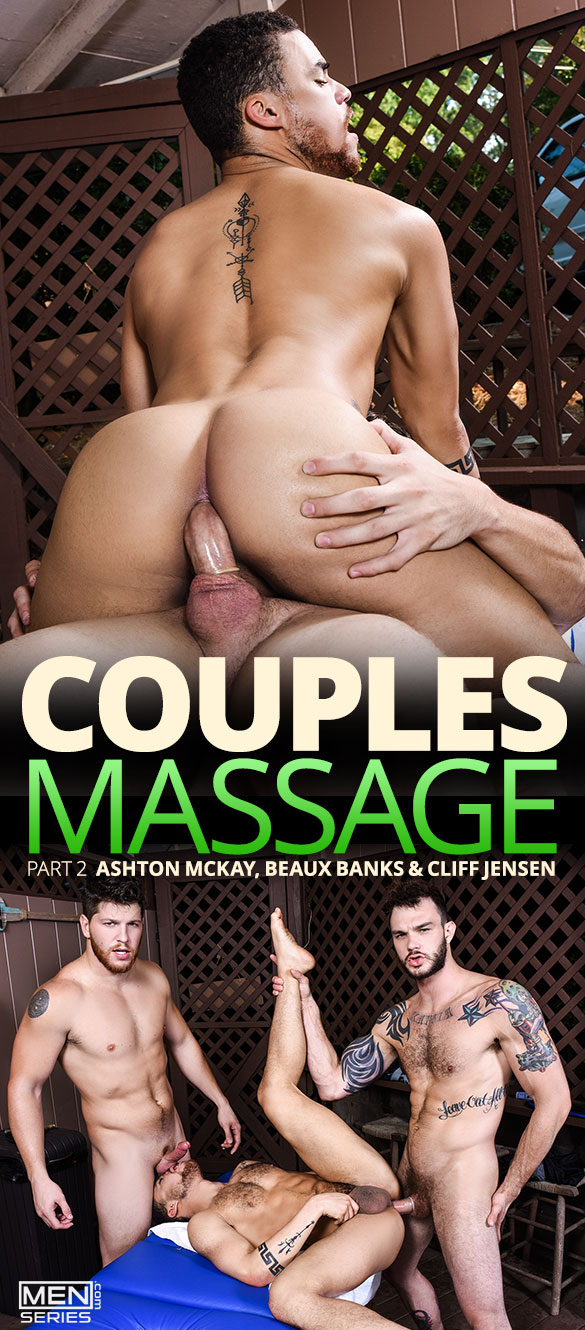 "Men.com: Cliff Jensen and Ashton McKay fuck Beaux Banks in ""Couples Massage, Part 2"""