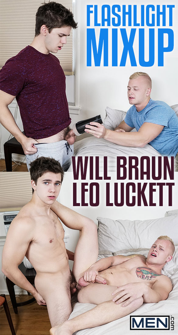 "Men.com: Will Braun fucks Leo Luckett in ""Flashlight Mixup"""