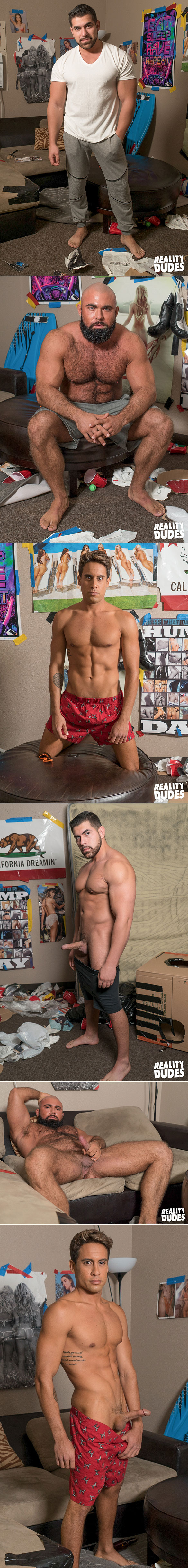 """Reality Dudes: Steven Roman and Damien Stone tag team Titus bareback in """"Playing Games"""""""