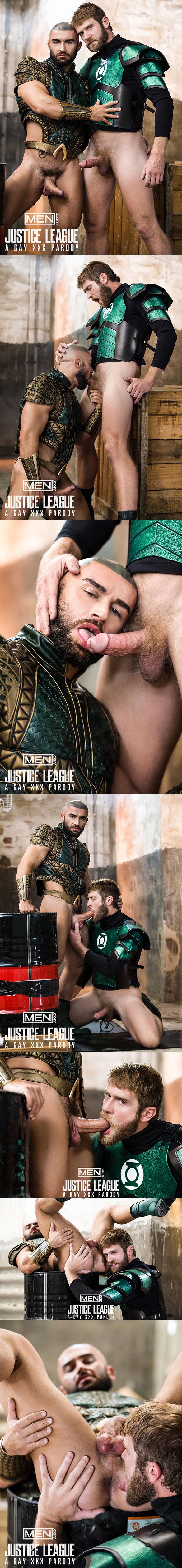 "Men.com: Colby Keller bangs Francois Sagat in ""Justice League: A Gay XXX Parody, Part 2"""