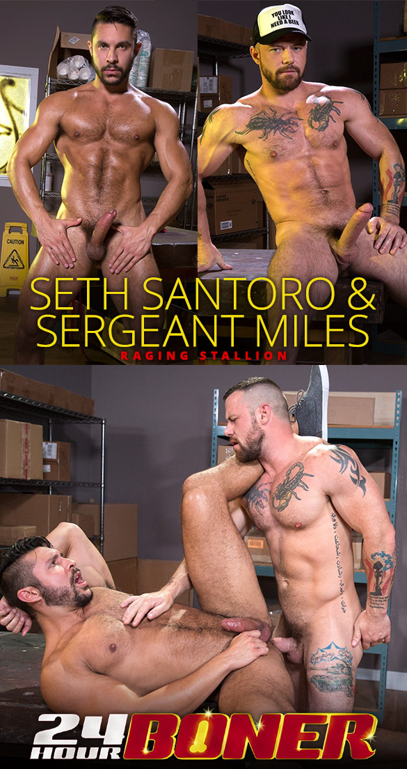 "Raging Stallion: Seth Santoro rides Sergeant Miles' thick dick in ""24 Hour Boner"""