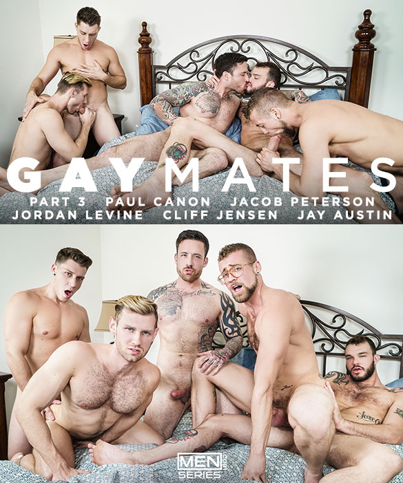 "Men.com: Cliff Jensen, Jordan Levine, Paul Canon, Jay Austin and Jacob Peterson in ""Gaymates, Part 3"""