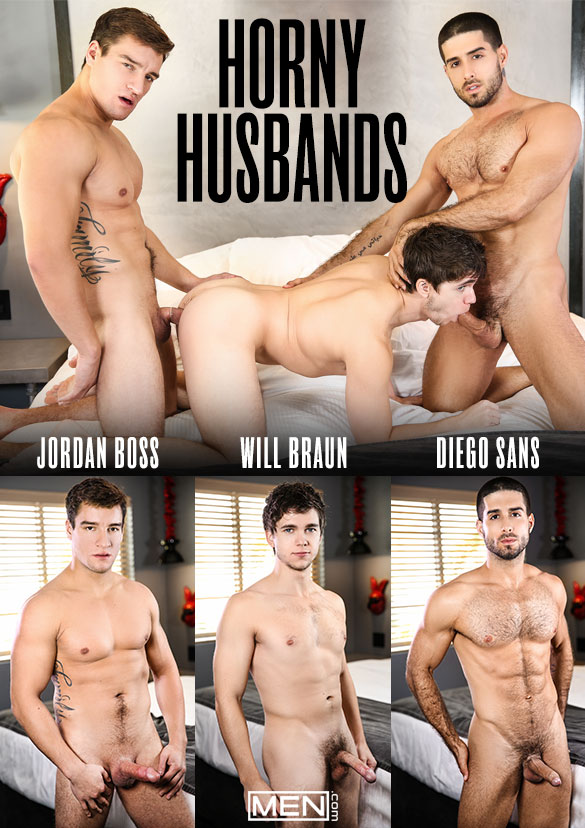 "Men.com: Diego Sans and Jordan Boss tag team Will Braun in ""Horny Husbands"""