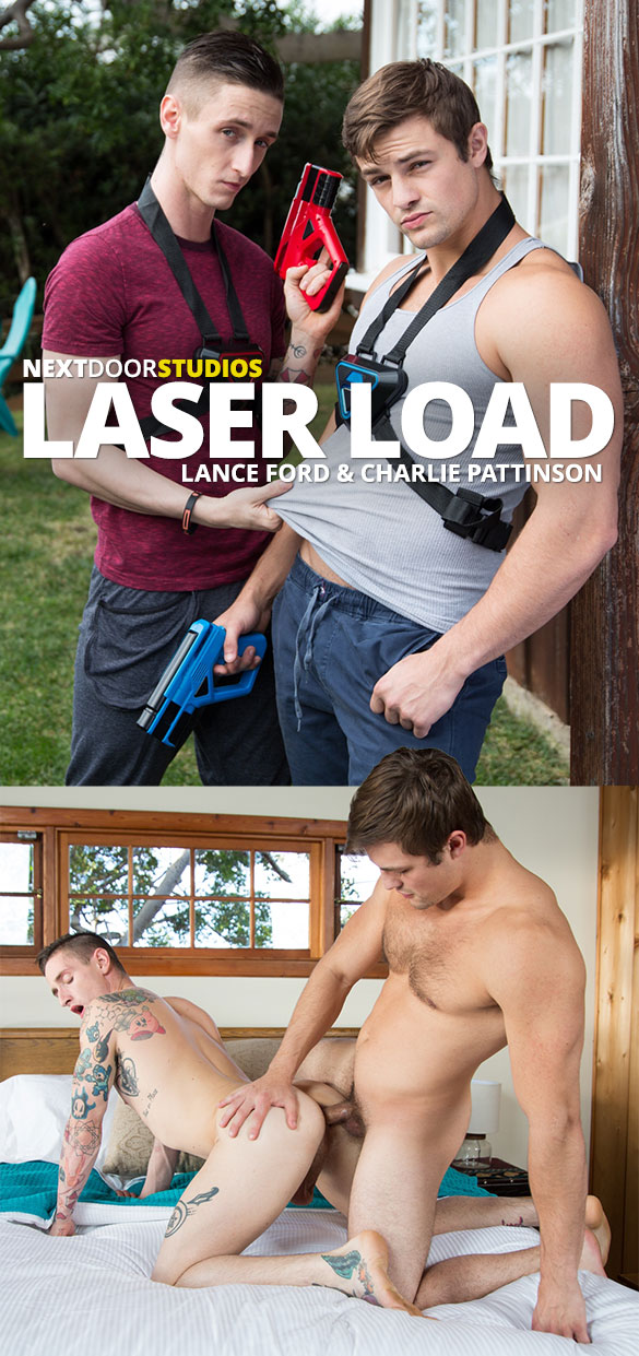 "Next Door Studios: Charlie Pattinson barebacks Lance Ford in ""Laser Load"""