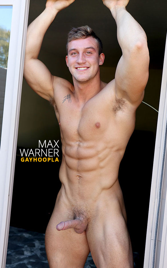 GayHoopla: Hot new muscle stud Max Warner shows off and jerks off