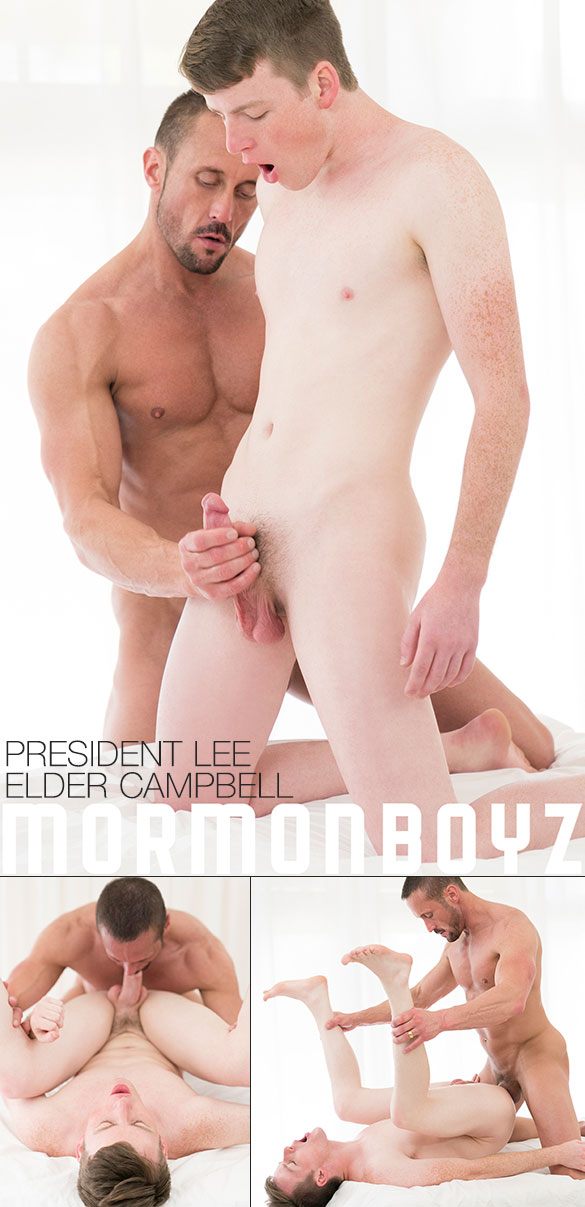 """MormonBoyz: President Lee fucks Elder Campbell's tight twink hole bareback in """"Second Anointing"""""""