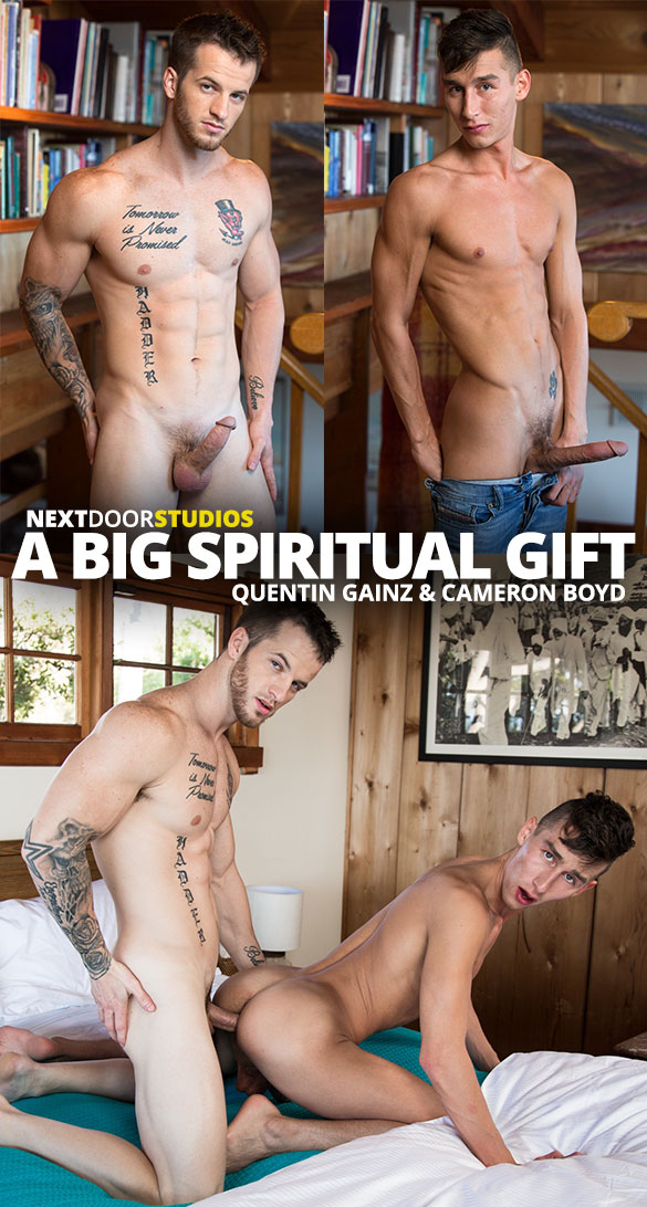 "Next Door Studios: Quentin Gainz and Cameron Boyd flip fuck raw in ""A Big Spiritual Gift"""