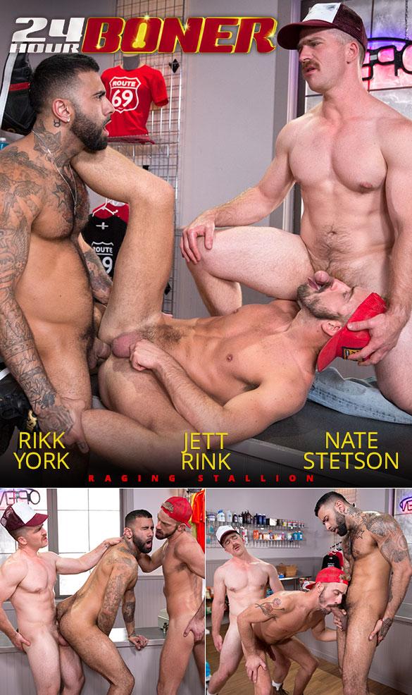 """Raging Stallion: Rikk York, Nate Stetson and Jett Rink's threeway fuck in """"24 Hour Boner"""""""