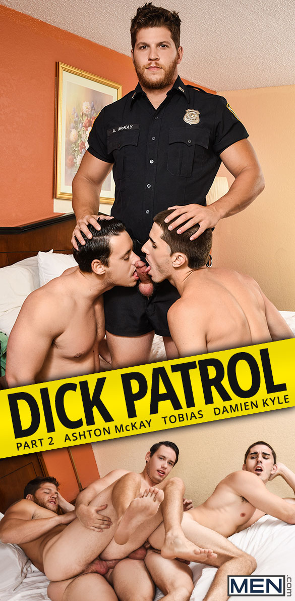 "Men.com: Ashton McKay, Tobias and Damien Kyle's threesome in ""Dick Patrol, Part 2"""