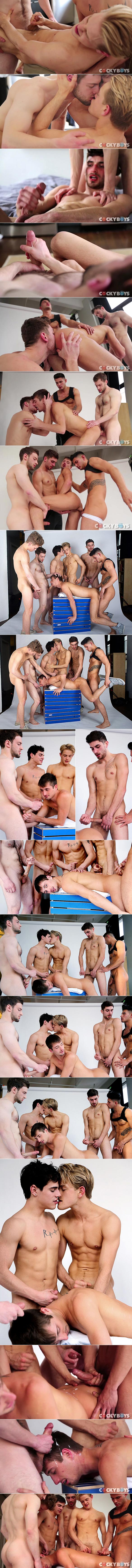 "Cocky Boys: Bravo Delta, Dillon Rossi, Jett Black, JD Phoenix, Levi Karter, Max Ryder and Ricky Roman in ""Boys to Adore Galore"""