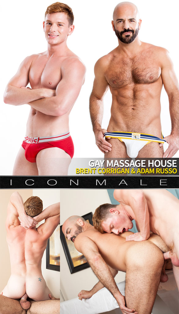 """IconMale: Brent Corrigan and Adam Russo fuck each other in """"Gay Massage House"""""""