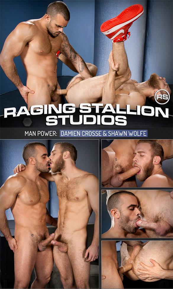 "Raging Stallion: Damien Crosse bangs Shawn Wolfe in ""Man Power"""