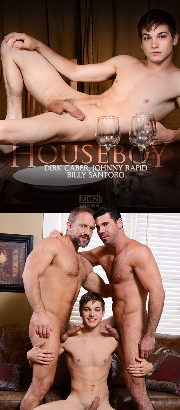 "Men.com: Johnny Rapid gets pounded by Dirk Caber and Billy Santoro in ""Houseboy, Part 2"""