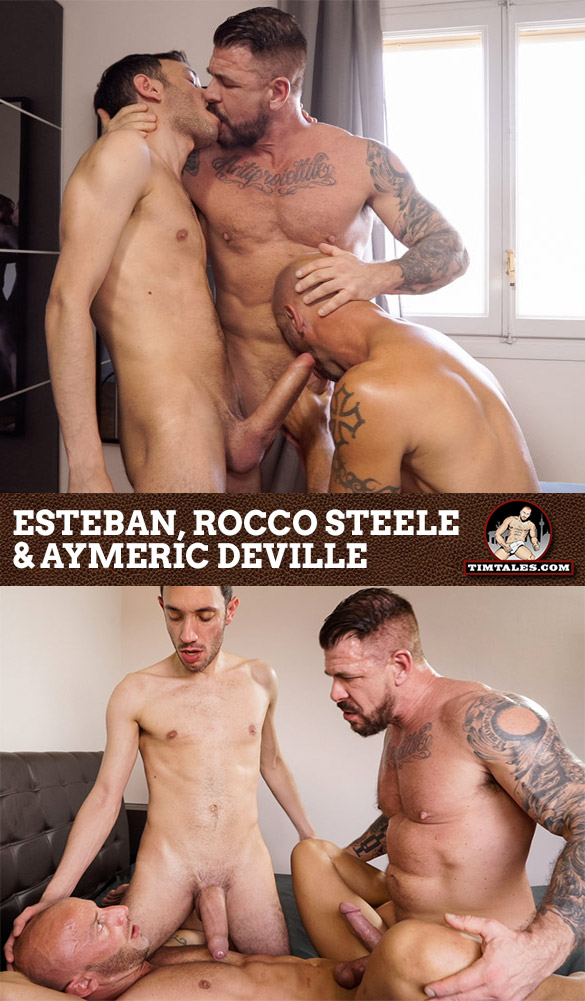 TimTales: Big-dicked studs Rocco Steele and Esteban fuck Aymeric DeVille raw
