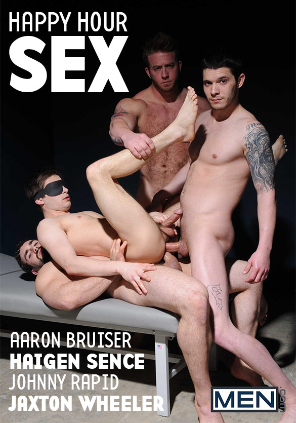 "Men.com: Johnny Rapid gets fucked by Aaron Bruiser, Haigen Sence and Jaxton Wheeler in ""Happy Hour Sex"""