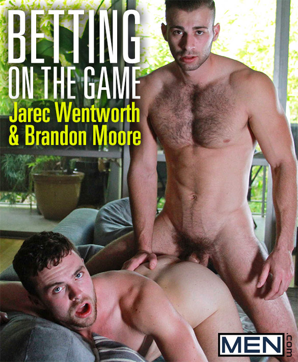 "Brandon Moore gets pounded by Jarec Wentworth in ""Betting On The Game"" at Men.com"