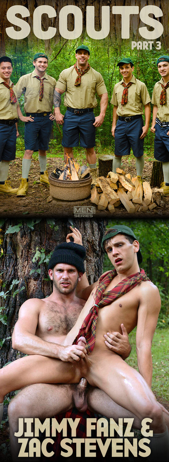 "Men.com: Jimmy Fanz pounds Zac Stevens in ""Scouts, Part 3"""