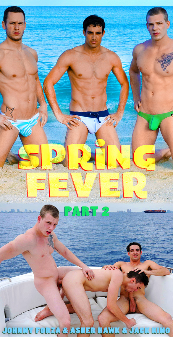 "Men.com: Asher Hawk bottoms for Jack King and Johnny Forza in ""Spring Fever, Part 2"""