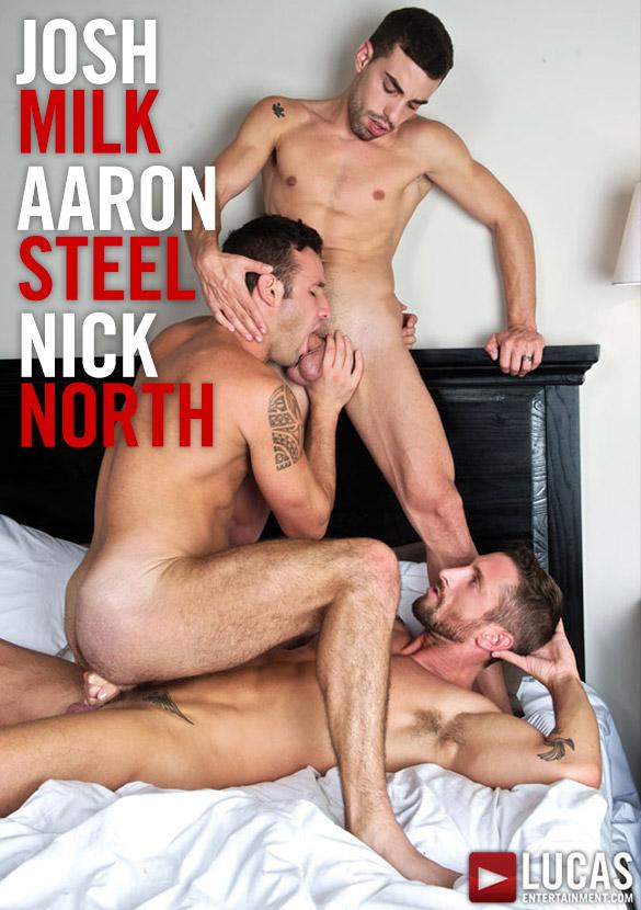 Lucas Entertainment: Nick North and Josh Milk double penetrate Aaron Steel bareback