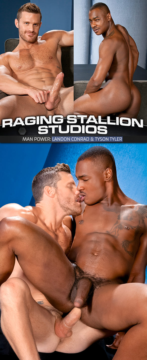 "Raging Stallion: Tyson Tyler gets fucked by Landon Conrad in ""Man Power"""