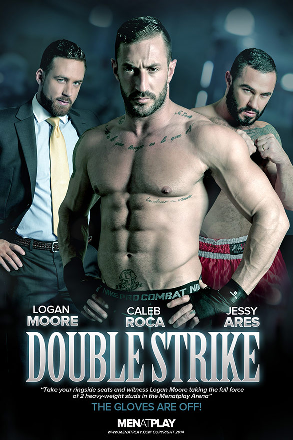 "MenAtPlay: Logan Moore bottoms for Caleb Roca and Jessy Ares in ""Double Strike"""