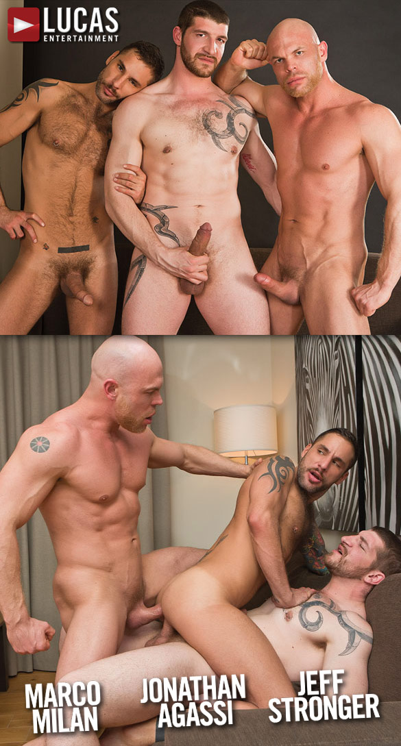 Lucas Entertainment: Jonathan Agassi takes double-dick bareback from Jeff Stronger and Marco Milan