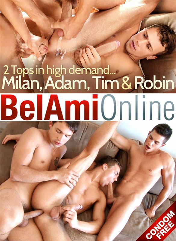 BelAmi: Adam Archuleta and Tim Campbell fuck Robin Michaux bareback