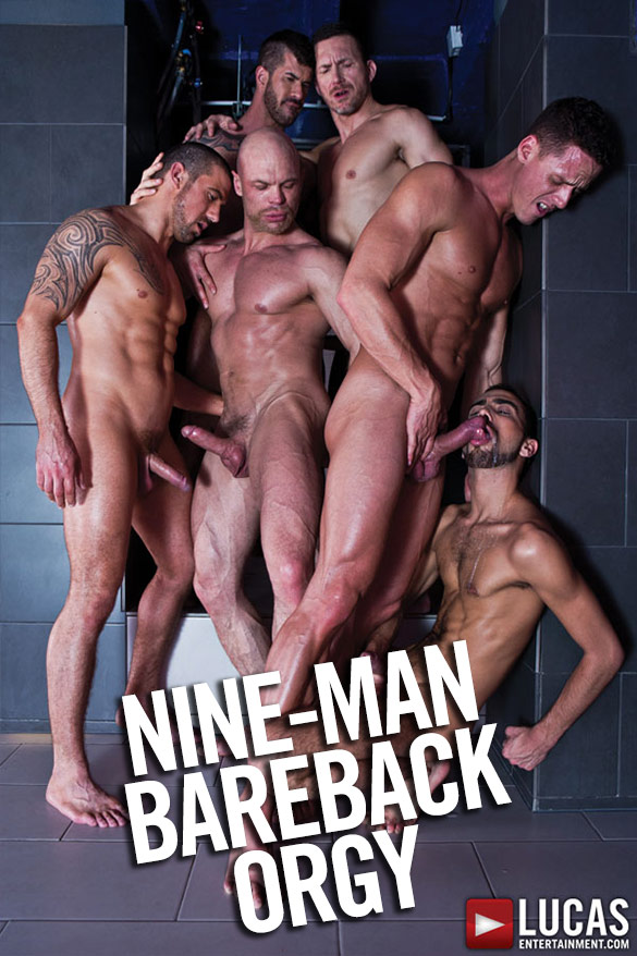Lucas Entertainment: Adam Killian leads a nine-man bareback orgy