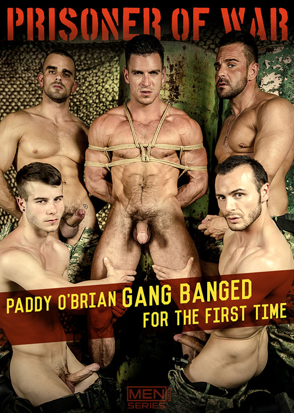 "Men.com: Paddy O'Brian gets gang banged by Alex Brando, Allen King, Gabriel Vanderloo and Damien Crosse in ""P.O.W., Part 4"""