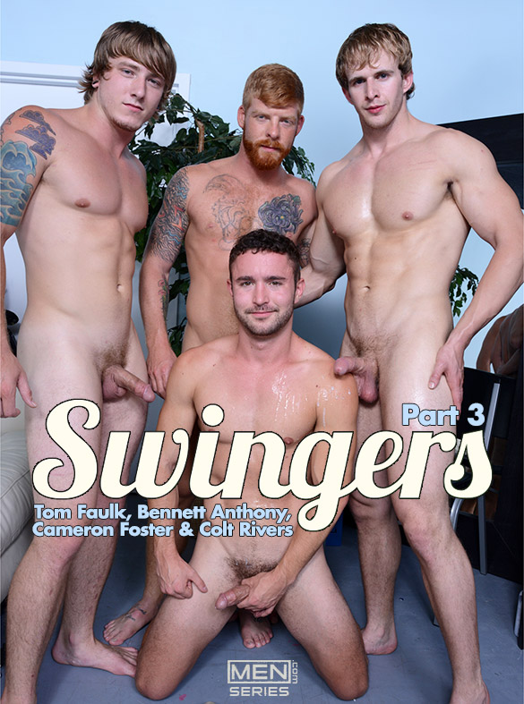 "Men.com: Colt Rivers and Tom Faulk bottom for Bennett Anthony and Cameron Foster in ""Swingers, Part 3"""