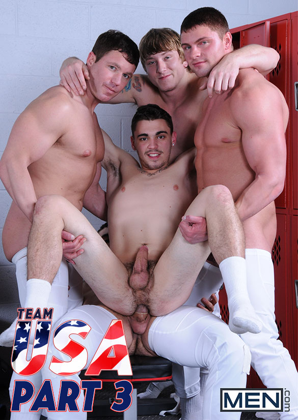 "Men.com: Jake Wilder and Asher Hawk get fucked by Jaxton Wheeler, Tom Faulk and Travis James in ""Team USA, Part 3"""