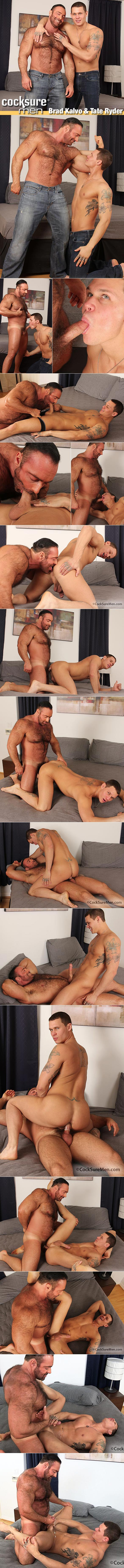 CocksureMen: Hairy muscle hunk Brad Kalvo pounds Tate Ryder