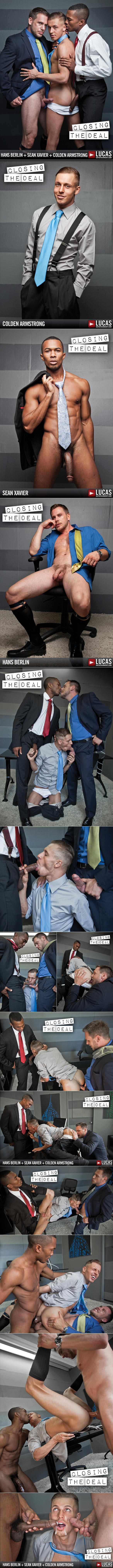 "Lucas Entertainment: Colden Armstrong gets fucked by Sean Xavier and Hans Berlin in ""Closing the Deal"""