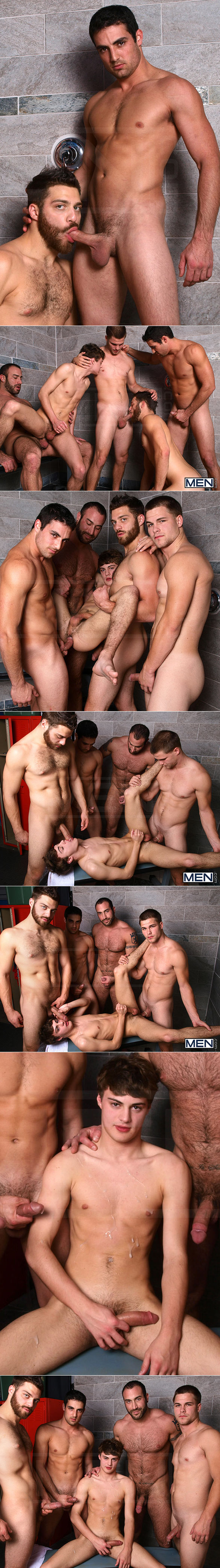 "Men.com: Hunter Page gets fucked by Spencer Reed, Tommy Defendi, Jimmy Johnson and Jack King in ""Jizz Shower"""