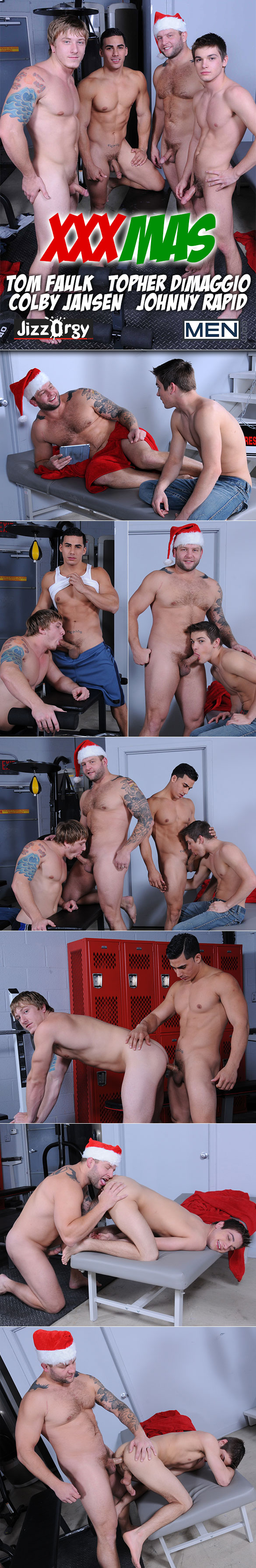 "Men.com: Johnny Rapid and Tom Faulk get fucked by Colby Jansen and Topher DiMaggio in ""XXXMas"""